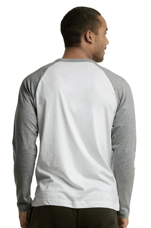 Load image into Gallery viewer, TOP PRO MEN'S LONG SLEEVE BASEBALL TEE (MBT002_LT.G/WHT)
