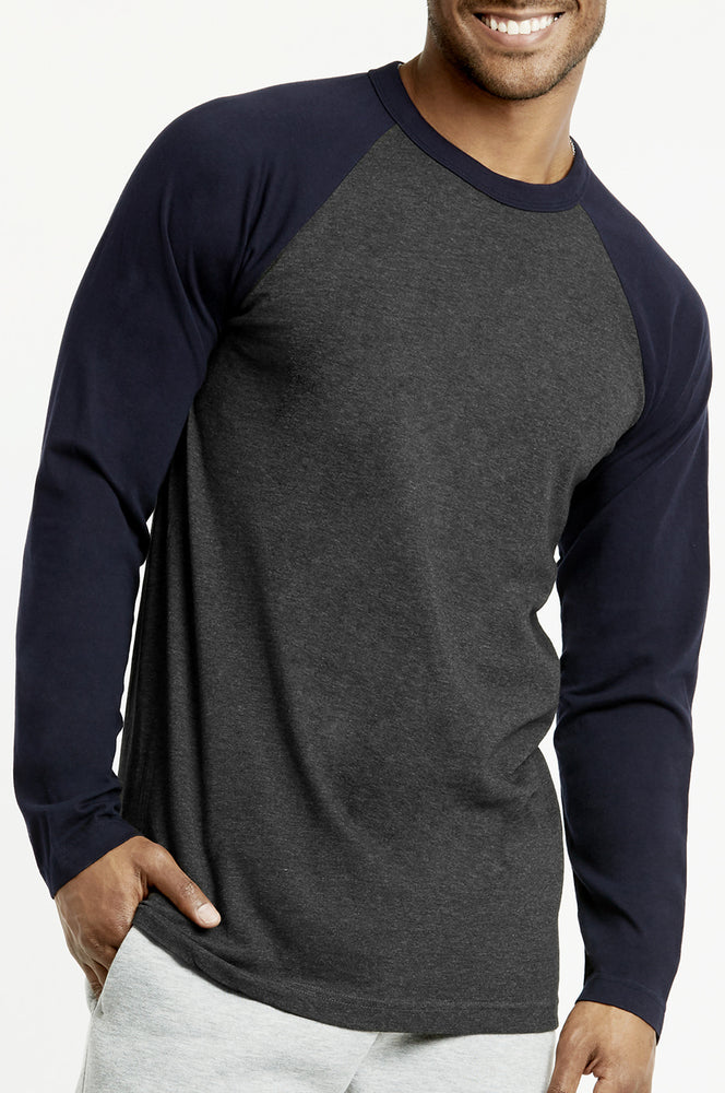 Load image into Gallery viewer, TOP PRO MEN'S LONG SLEEVE BASEBALL TEE (MBT002_NV/C.GR)
