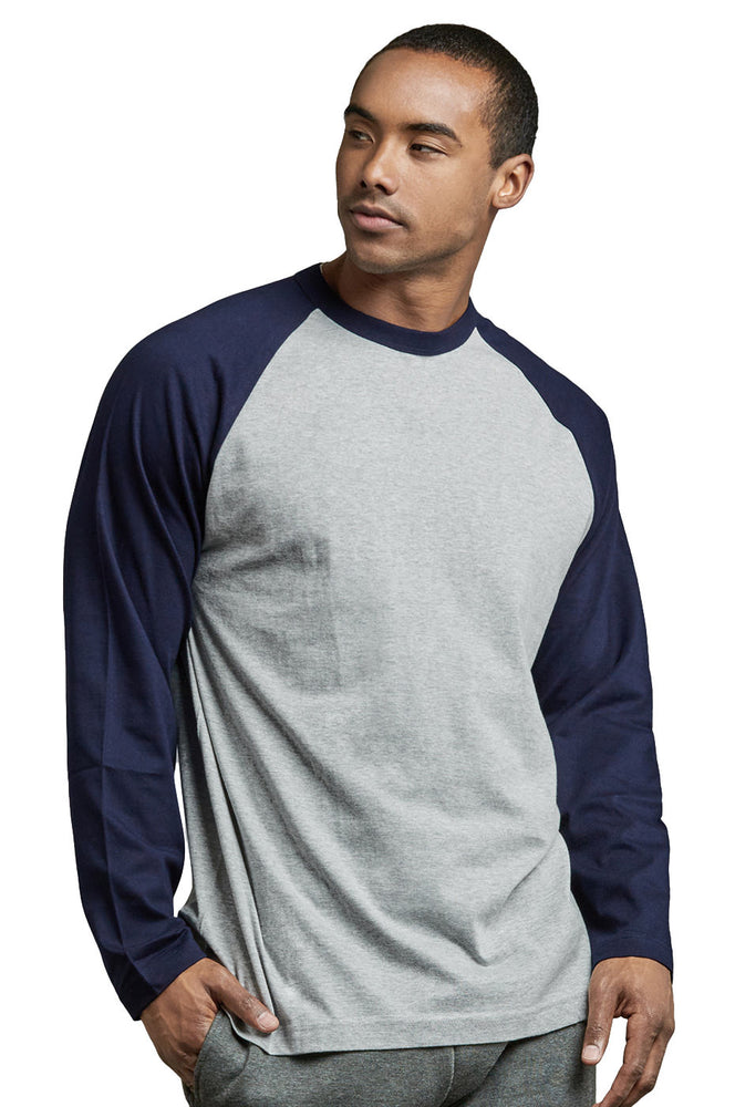 Load image into Gallery viewer, TOP PRO MEN'S LONG SLEEVE BASEBALL TEE (MBT002_NV/LT.G)