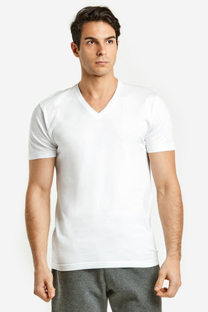 Load image into Gallery viewer, TOP PRO MEN'S WHITE V-NECK T-SHIRT (TUT200B)
