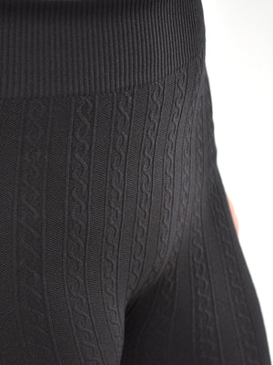 SOFRA LADIES CABLE KNIT FLEECE LEGGINGS (TX200)