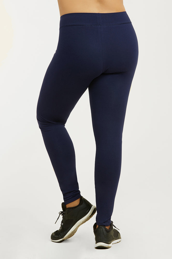 Load image into Gallery viewer, SOFRA LADIES COTTON LEGGINGS PLUS SIZE (WP4000X_NAVY)