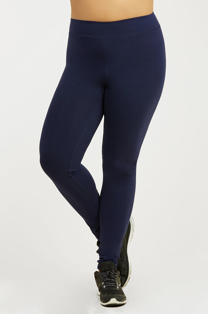 SOFRA LADIES COTTON LEGGINGS PLUS SIZE (WP4000X_NAVY)