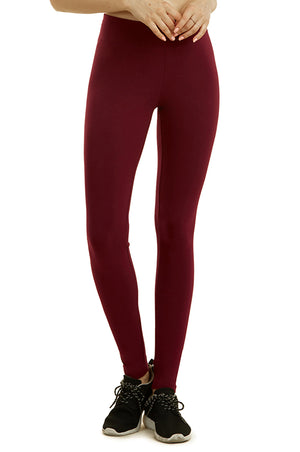 SOFRA LADIES COTTON LEGGINGS (WP4000_BURG)