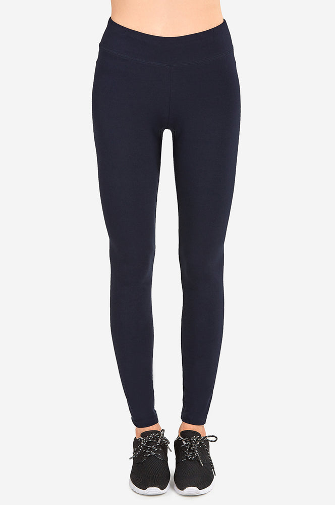 SOFRA LADIES COTTON LEGGINGS (WP4000_NAVY)