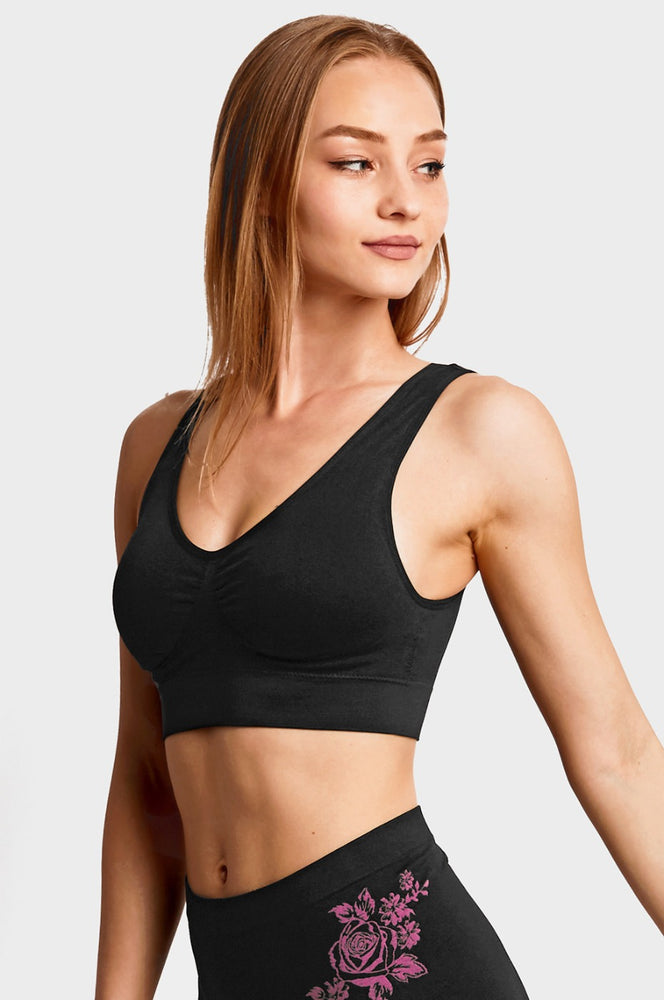 SOFRA LADIES SEAMLESS SPORTS BRA (BR0124SP_BLACK) - BOX ONLY