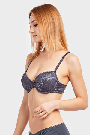 Load image into Gallery viewer, SOFRA LADIES DEMI CUP LACE STRAPLESS BRA (BR4224L1)