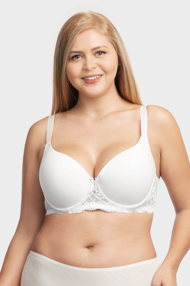 SOFRA LADIES FULL CUP PLAIN LACE COTTON D CUP BRA (BR4237PLD)