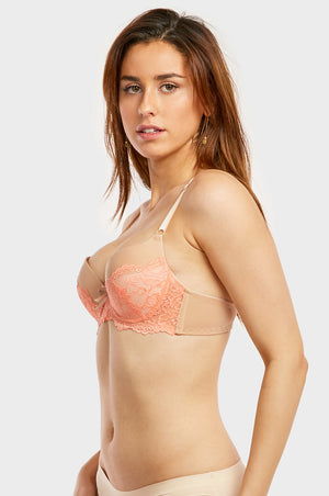 SOFRA LADIES FULL CUP PLAIN LACE  PUSH UP BRA (BR4287PLU2)