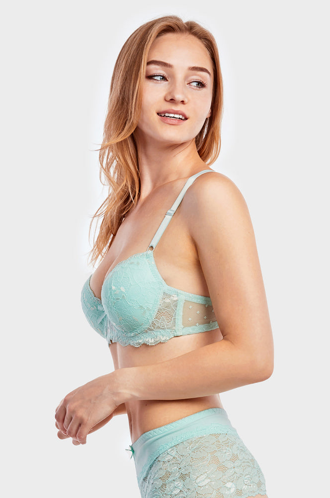 SOFRA LADIES DEMI CUP LACE BRA (BR4294L)
