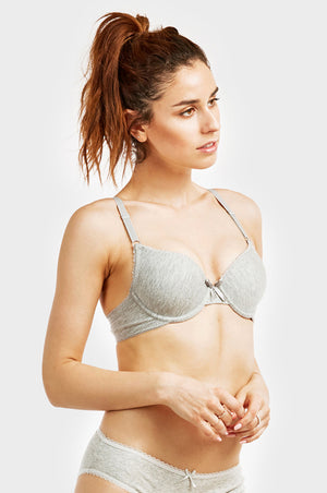 SOFRA LADIES FULL CUP PLAIN COTTON BRA W/ LACE TRIM AT NECKLINE (BR4306P) - BOX ONLY