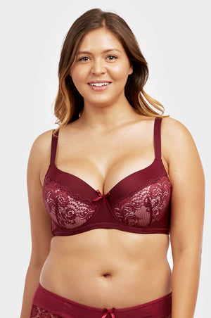SOFRA LADIES PLAIN LACE FULL CUP D CUP BRA, WIDE STRAP (BR4361PLD) - BOX ONLY