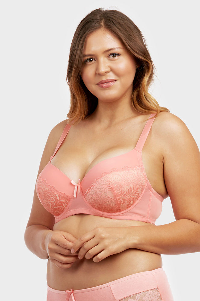 Load image into Gallery viewer, SOFRA LADIES PLAIN LACE FULL CUP D CUP BRA, WIDE STRAP (BR4361PLD) - BOX ONLY