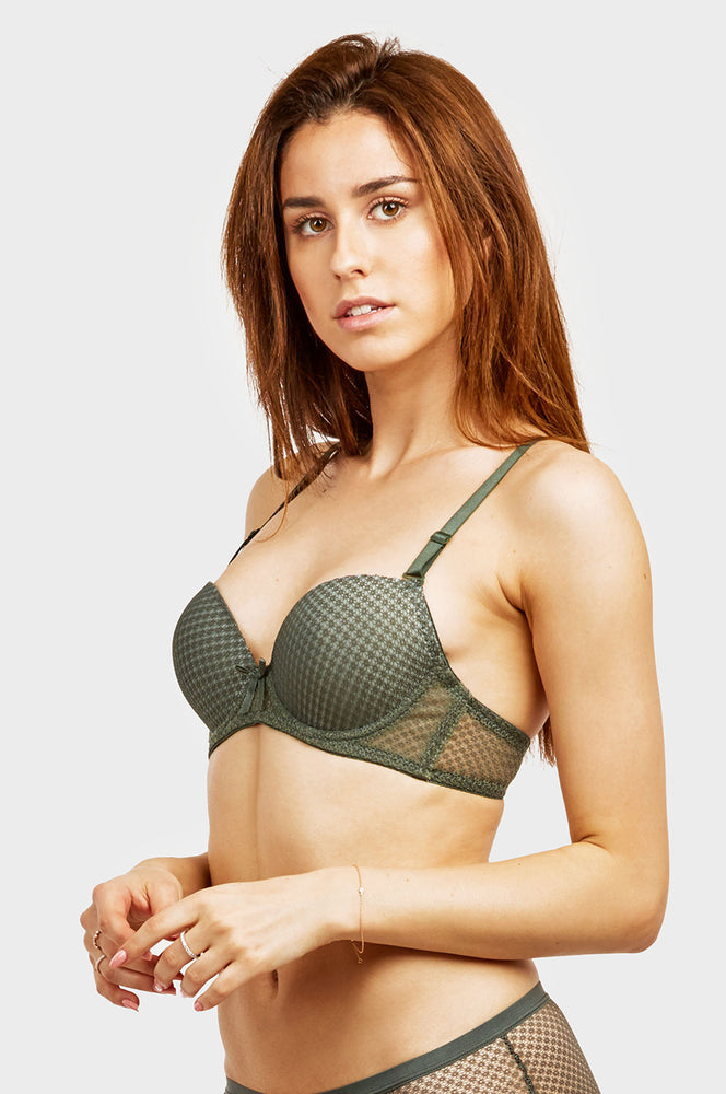 Load image into Gallery viewer, SOFRA LADIES DEMI CUP LACE STRAPLESS BRA (BR4364L)