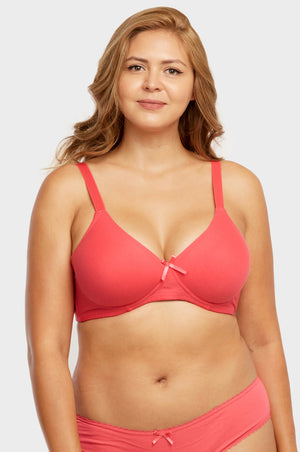 SOFRA LADIES FULL CUP NO WIRE COTTON  D CUP BRA (BR4430ND)
