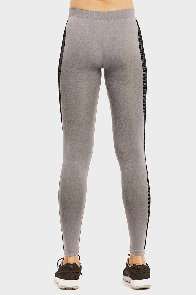 SOFRA LADIES SEAMLESS LEGGING W/ KNITTED DESIGN (EX800)