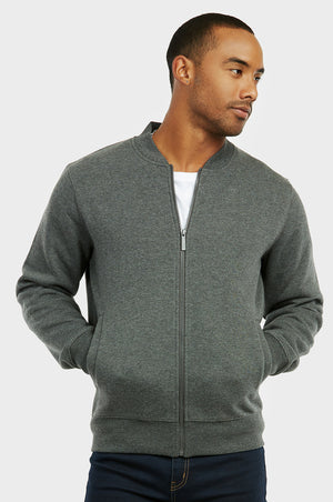 KNOCKER MEN'S FLEECE BOMBER JACKET (FJ2100_CH-GR)