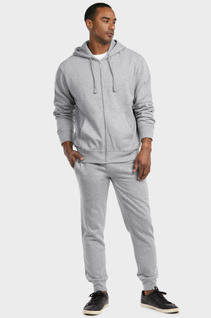 ET TU MEN'S LIGHTWEIGHT FLEECE ZIPPER HOODIE (HD2020E_H.GRY)