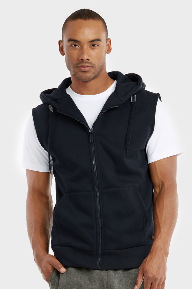 Load image into Gallery viewer, KNOCKER MEN'S ZIPPER HOODED VEST (HD2500_BLACK)