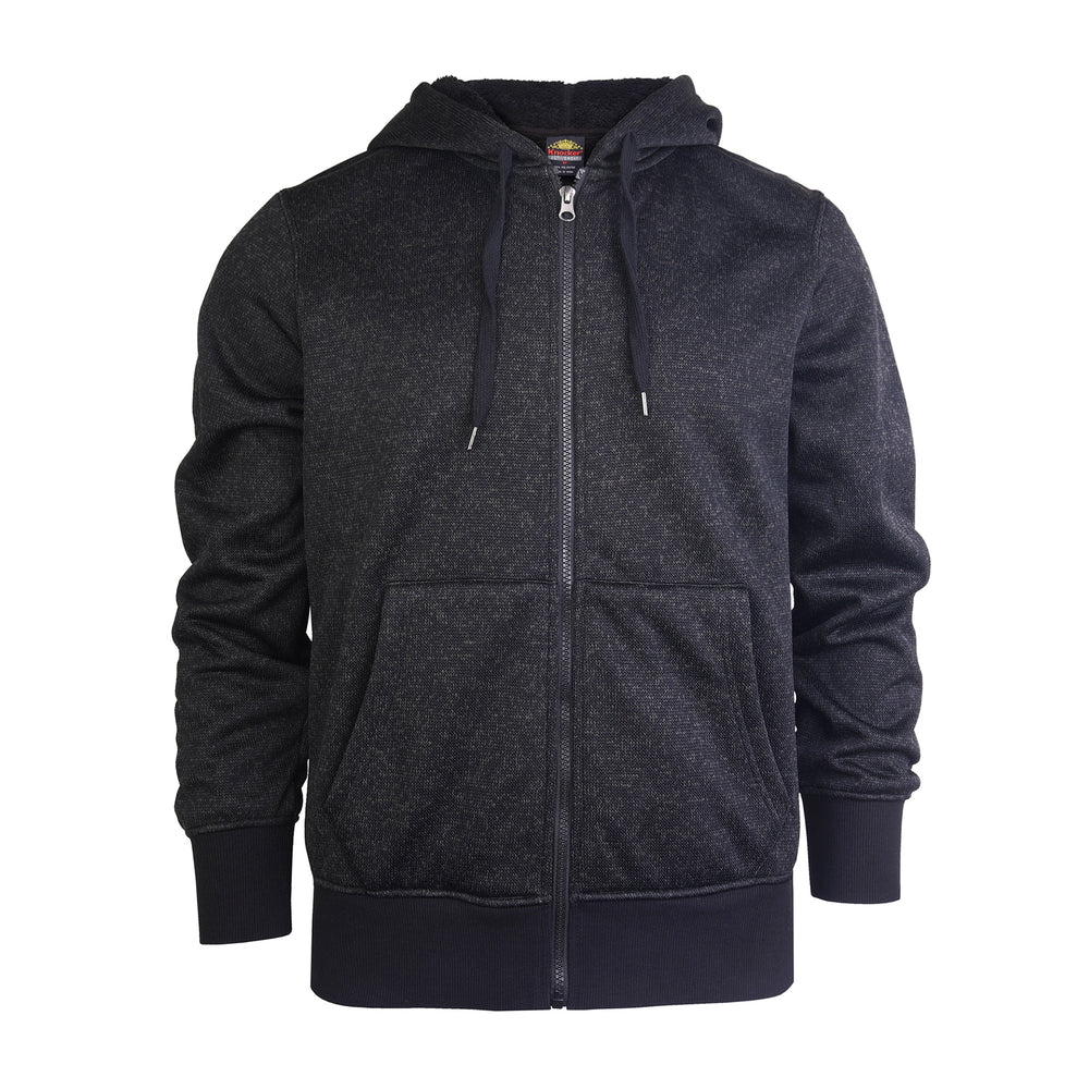 KNOCKER MEN'S SHERPA FLEECE ZIPPER HOODIE (HD5000_BLACK)