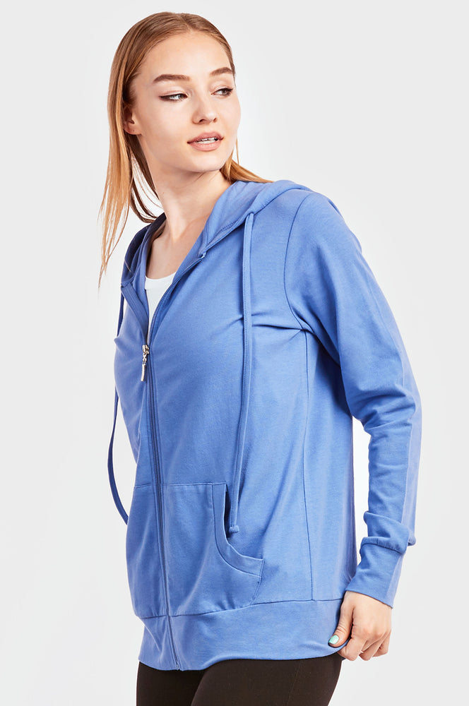 SOFRA LADIES THIN ZIP-UP HOODIE JACKET (HDC7000_BLUE)
