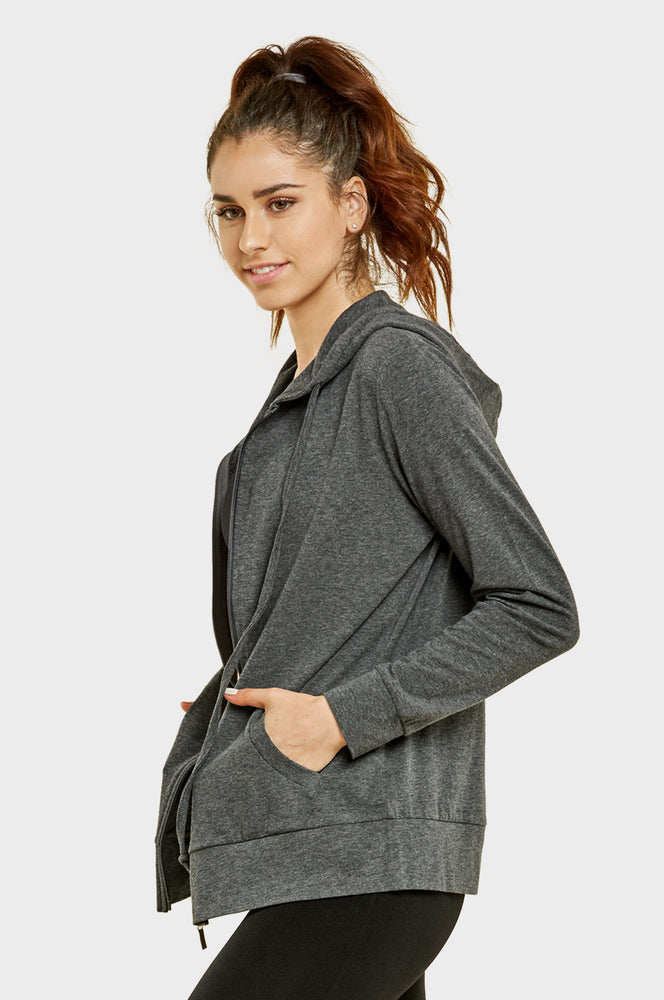 Load image into Gallery viewer, SOFRA LADIES THIN ZIP-UP HOODIE JACKET (HDC7000_CHC/GR)
