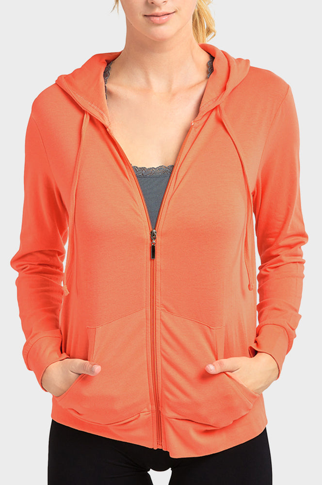 SOFRA LADIES THIN ZIP-UP HOODIE JACKET (HDC7000_CORAL)