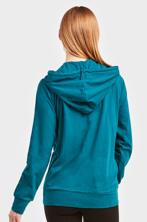 SOFRA LADIES THIN ZIP-UP HOODIE JACKET (HDC7000_PEACOCK)