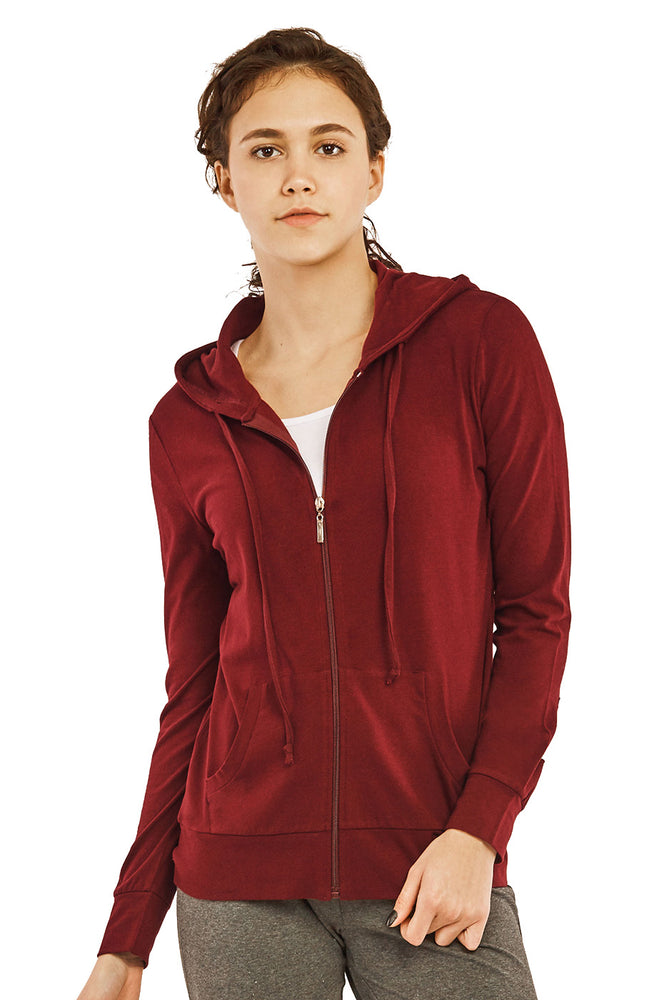Load image into Gallery viewer, COTTONBELL LADIES THIN ZIP-UP HOODIE JACKET (HDC7000C_BURG)