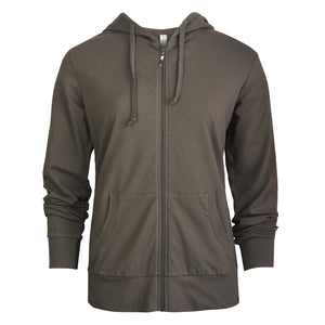 SOFRA LADIES THIN ZIP-UP HOODIE JACKET PLUS SIZE (HDC7000X_OLIVE)