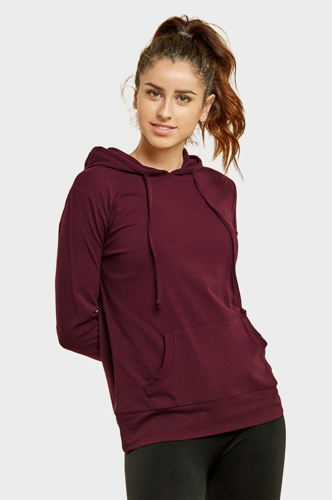 Load image into Gallery viewer, SOFRA LADIES THIN PULLOVER HOODIE (HDC7001_BURG)