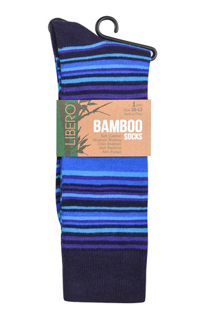 Load image into Gallery viewer, LIBERO MEN'S BAMBOO NYLON SPANDEX CREW (LBC401_TST-BLU)