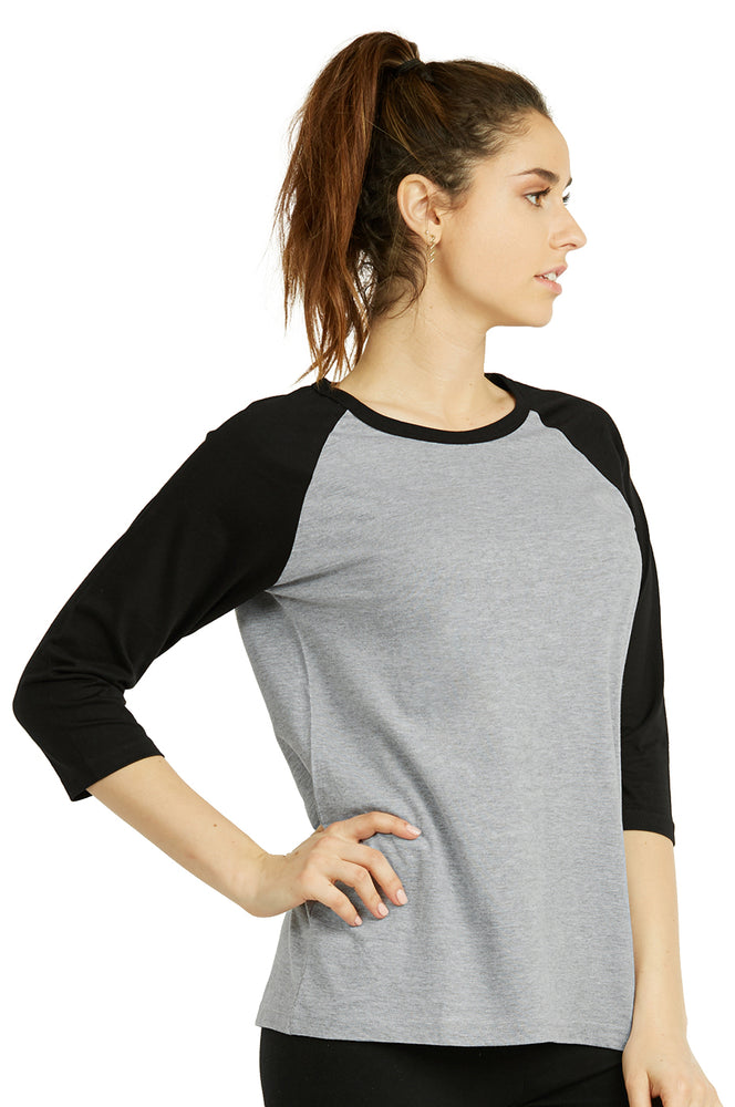 COTTONBELL LADIES BASEBALL TEE (LBT001C_LT.H-BK)