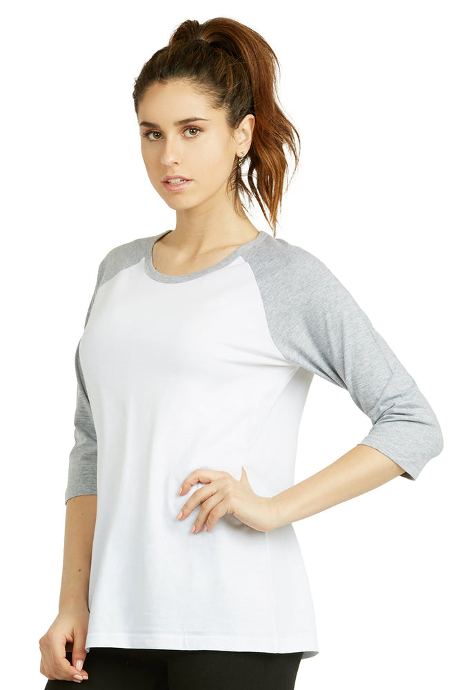 Load image into Gallery viewer, COTTONBELL LADIES BASEBALL TEE (LBT001C_WH-LT.H)