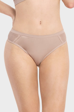 SOFRA LADIES SEAMLESS THONG PANTY, MESH AT SIDES (LP0262ST) - BOX ONLY