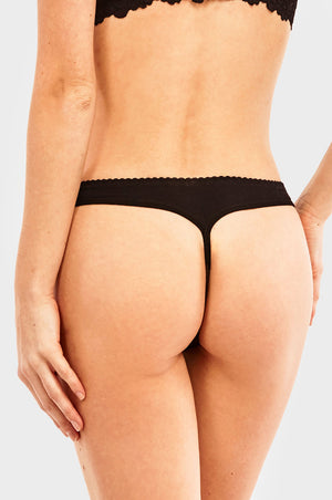 SOFRA LADIES LACE COTTON THONG PANTY (LP1474CT) - BOX ONLY