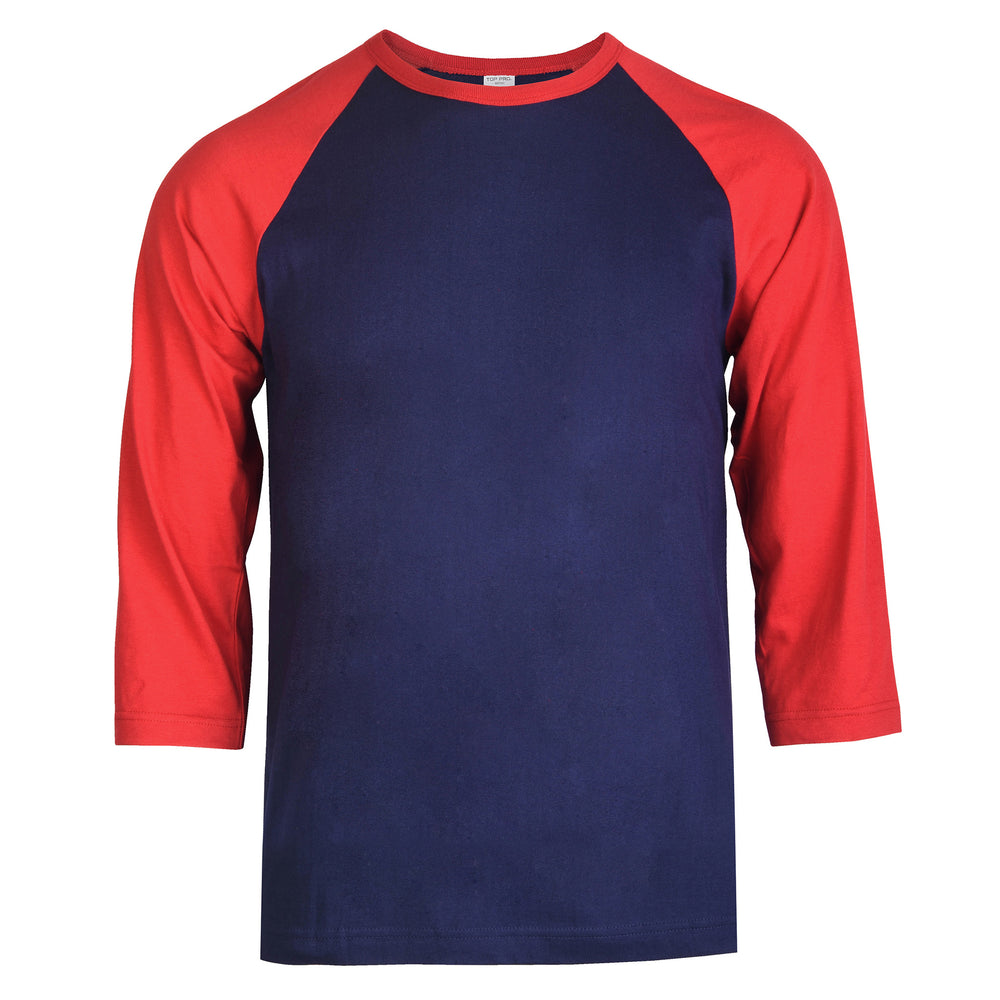 TOP PRO MEN'S 3/4 SLEEVE BASEBALL TEE (MBT001_D.RED/NV)