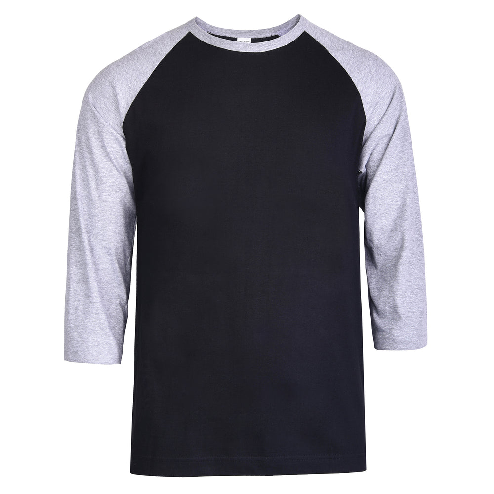 TOP PRO MEN'S 3/4 SLEEVE BASEBALL TEE (MBT001_H.GR/BLK)
