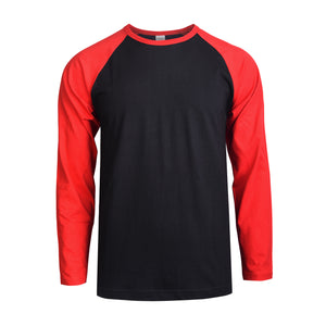 TOP PRO MEN'S LONG SLEEVE BASEBALL TEE (MBT002_RD/BLK)