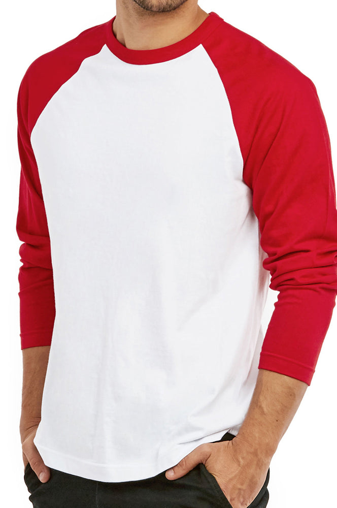 COTTONBELL MEN'S LONG SLEEVE BASEBALL TEE (MBT002C_RED-WHT)