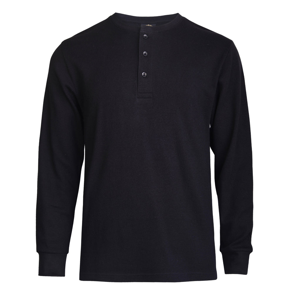 KNOCKER MEN'S WAFFLE-KNIT THERMAL HENLEY SHIRT (MHS100_BLACK)