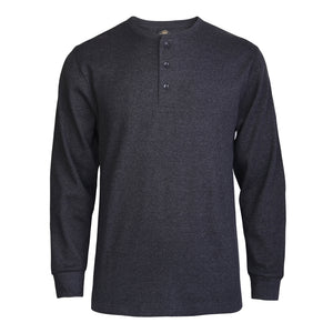 KNOCKER MEN'S WAFFLE-KNIT THERMAL HENLEY SHIRT (MHS100_CH/GR)