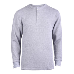 KNOCKER MEN'S WAFFLE-KNIT THERMAL HENLEY SHIRT (MHS100_H.GRY)