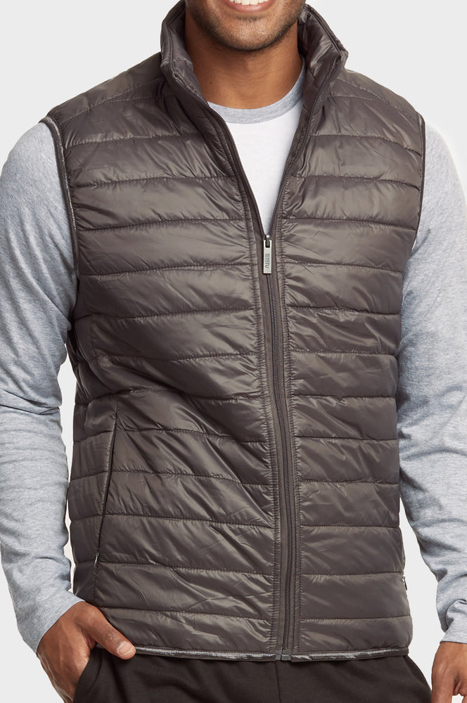 Load image into Gallery viewer, ET|TU MEN'S LIGHTWEIGHT PUFFER VEST (MPV200E_GREY)