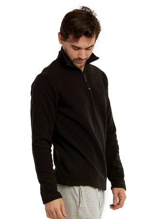 ET TU MEN'S POLAR FLEECE QUARTER PULLOVER (PF1000E_BLACK)