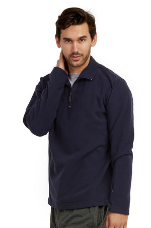 ET TU MEN'S POLAR FLEECE QUARTER PULLOVER (PF1000E_NAVY)