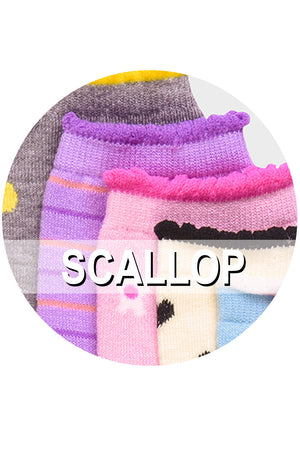 Load image into Gallery viewer, MOPAS GIRL'S DESIGN CREW SOCKS (SCALLOP)