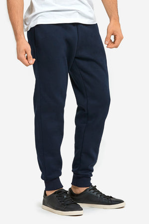 KNOCKER MEN'S HEAVY WEIGHT JOGGER FLEECE SWEATPANTS (SP1100_NAVY)
