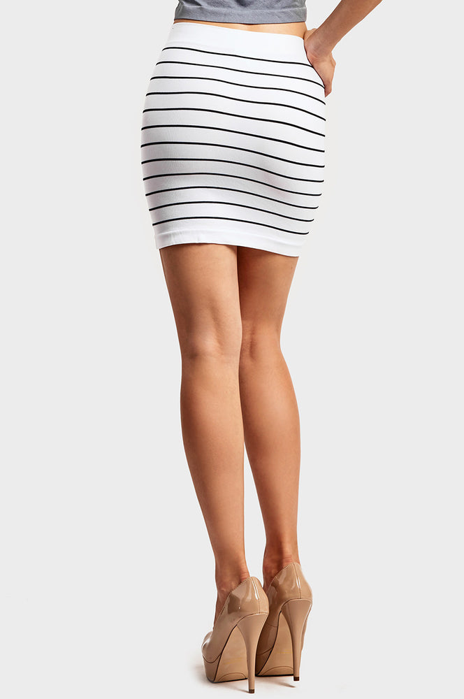 SOFRA LADIES SEAMLESS STRIPED SKIRT (SS001)