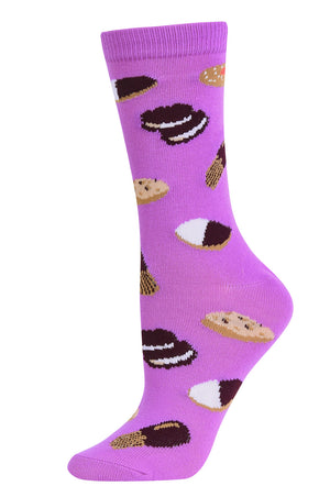 Load image into Gallery viewer, SOFRA WOMEN'S NOVELTY CREW SOCKS (SSC101_COOKIE)